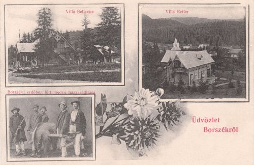 Bellevue és Reiter villa,lelőtt medve vadászokkal.1906