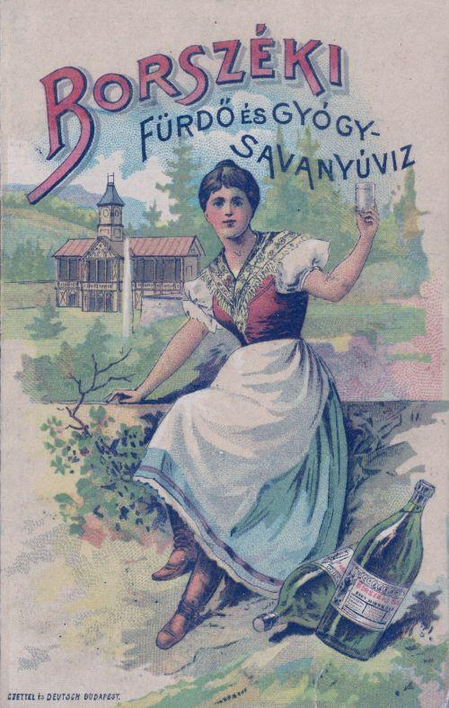 Borszék,zenepavilon és főkút,borvizes üveg 1894
