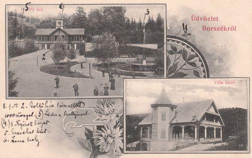 Borszék:Főkút és zenepavilon,Szini villa.1906