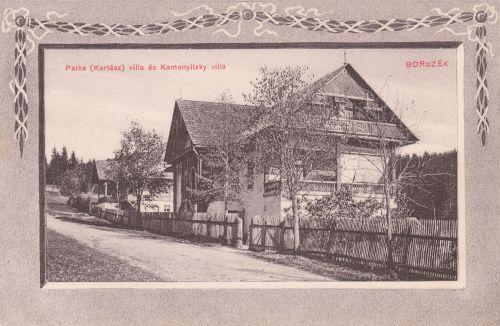Borszék:Kertész lak,Patka villa,feljebb a Kamenitzky nyaraló.1910