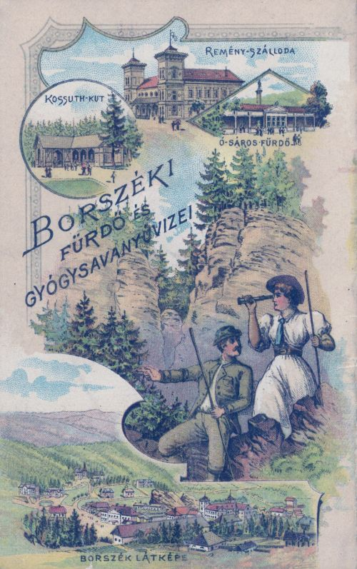 Borszék-Borsec:Medve barlang,Ó-Sáros fürdő,Kossuth kút,Remény szálloda.1893