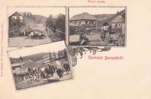Borszék:piac a papi lak előtt.1901