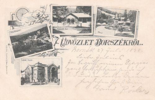 Borszék:Kossuth forrás,Főkút,Lázár fürdő,villa csoport.1896