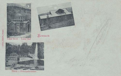 Lázár fürdő.Új Sáros fürdő,Főkút és zenepavilon.1899