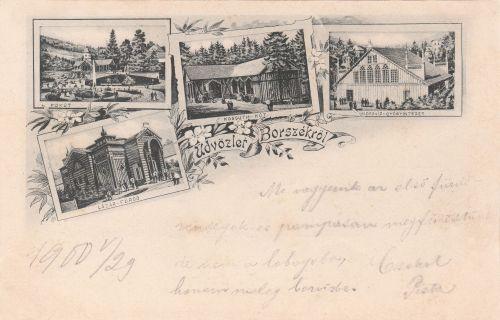 Borszék:Főkút,Lázár fürdő,Kossuth forrás,Hideg fürdő.1899