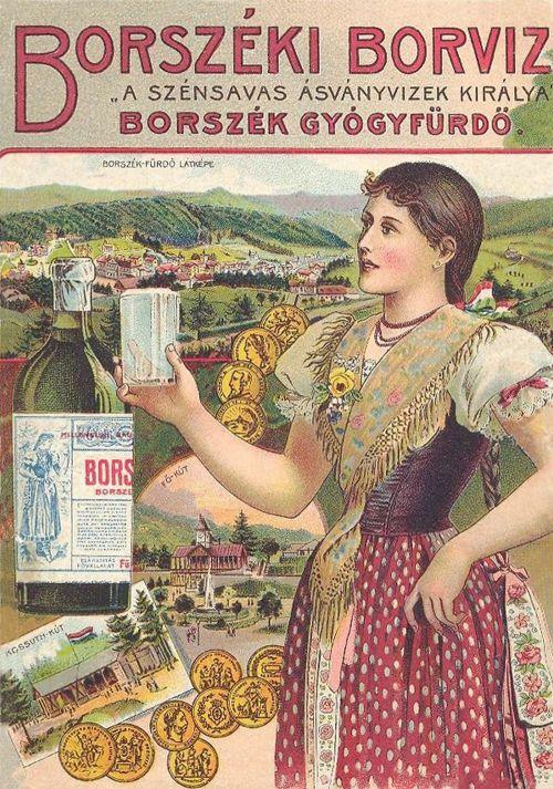 Borszékfürdő:kőnyomat,borvizes üveg és pohár,kitűntetések,székely leány.1896