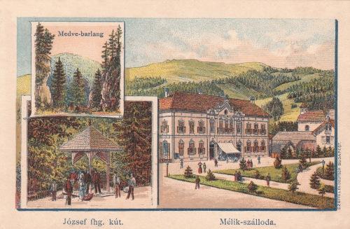 Borszék:Medve barlang,József főherceg kút,Mélik szálloda,jobbra a régi templom.1890