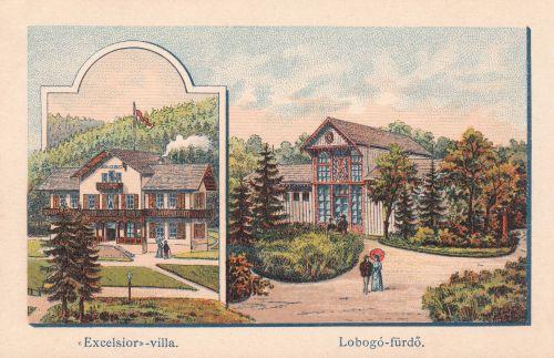 Borszékfürdő:Excelsior villa és Lobogó fürdő.1890