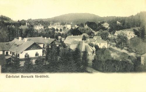 Balra a Posta- és a Kirschlager-,középen a Nefelejts- és a Máté-,jobbra a Pax villa,1906.