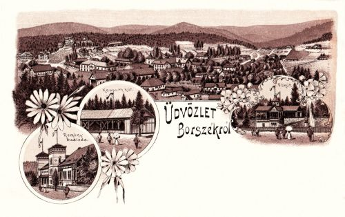 Borszék:Remény szálloda,Kossuth forrás és Főkút.(kőnyomat).1899