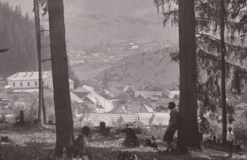Borszék:látkép a régi iskolával,1938 k.