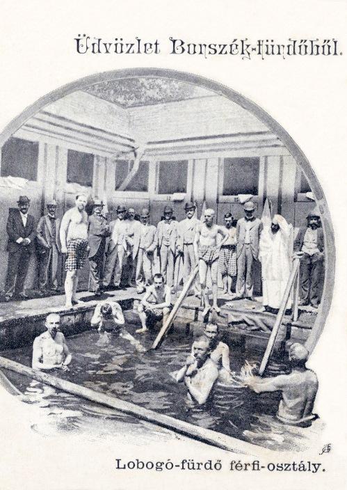 Lobogó-fürdő férfi osztálya,1903,(fürdés a 9 fokos borvízben),Heiter György