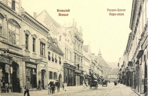 Brassó:Kapu utca(feliratok három nyelven).1908