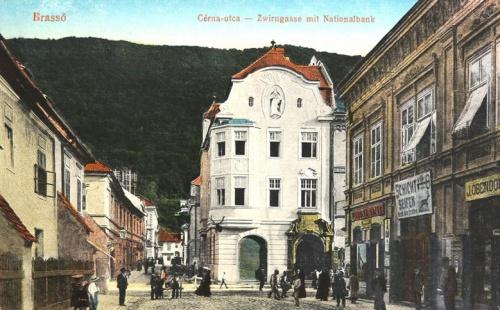 Brassó:Cérna utca és Nemzeti Bank.1915