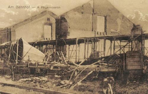 Brassó:román katonák által szétlőtt állomás,1916.