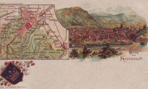 Brassó:kőnyomat,városi térképpel és cimerrel.1899