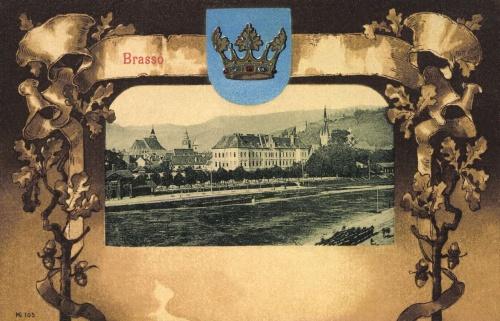 Brassó:látkép a templomokkal és a város cimerével,1901.