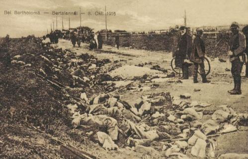 Brassó felszabaditása:elesett román katonák holttestei Berethalom felé,1916.