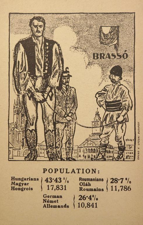 Brassó nemzetiségi megoszlása 1910-ben,irredenta képeslap,1920 körül.
