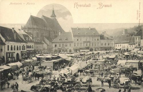 Brassó:piac a Fekete templommal,1900.