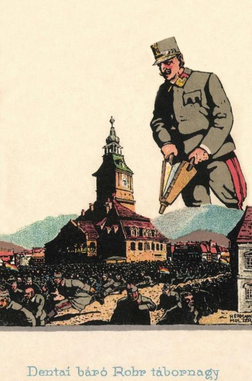 Rohr tábornagy kiűzi a megszálló román csapatokat Brassóból,1916-ban.