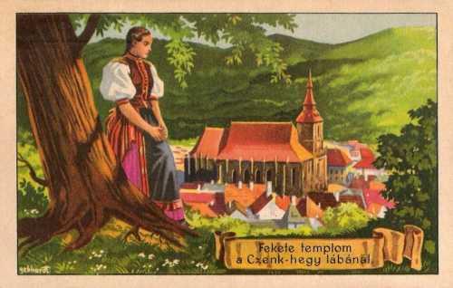 Brassó:Fekete templom a Czenk hegy lábánál.1920