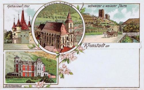 Brassó:evangélikus templom,Katalin bástya,Fehér-és Fekete torony,1899.