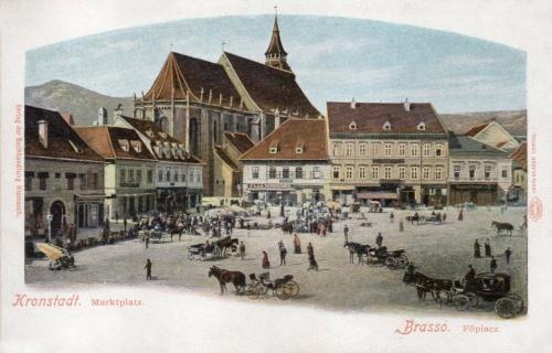 Brassó:piac tér a Fekete templommal.1900