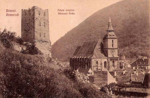 Brassó:Fekete templom a bástyával.1908