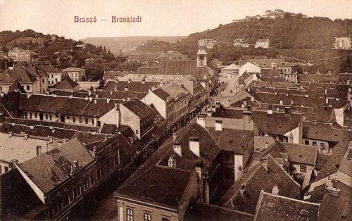 Brassó:látkép a templommal és a várral.1908