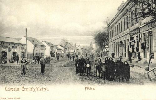 Érmihályfalva:fő utca az üzletekkel,1902.