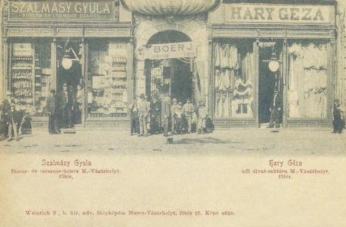 Szalmásy Gyula fűszer- és csemege üzlete,Hary Géza női divat raktára,Boér János férfi szabó műhelye1901.