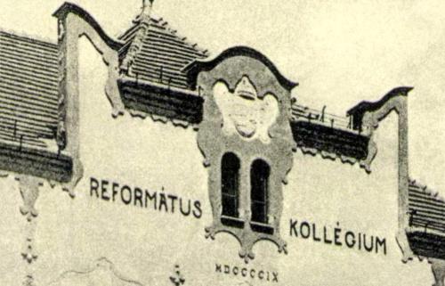 Református Kollégium (ma Bolyai) a magyar Koronás címerrel,1911-ben.
