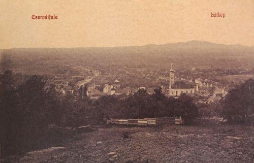 Csernátfalu:a község látképe a templommal.1909