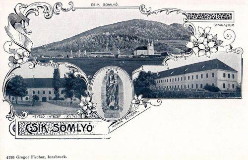Csiksomlyó:Mária szobor,Gimnázium,Nevelő Intézet.1899