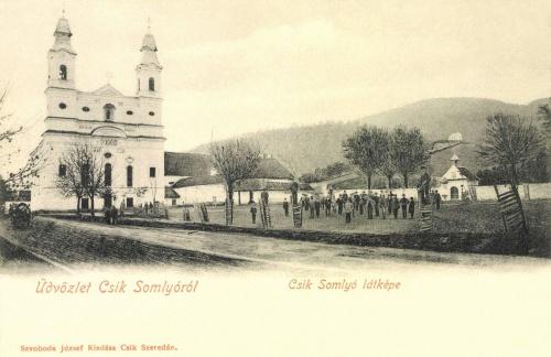 Csiksomlyó:látkép a templommal,1902.