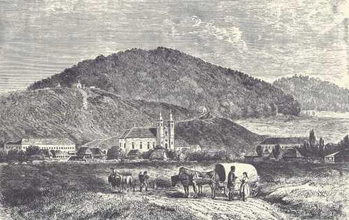 Csiksomlyó:Látkép a Nagy-és Kissomlyó hegyek felé,1869.(Keleti Gusztáv rajza)