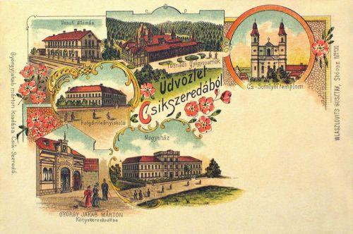 Csikszereda:Megyeháza,Polgári Leányiskola,vasútállomás,kőnyomat.1898