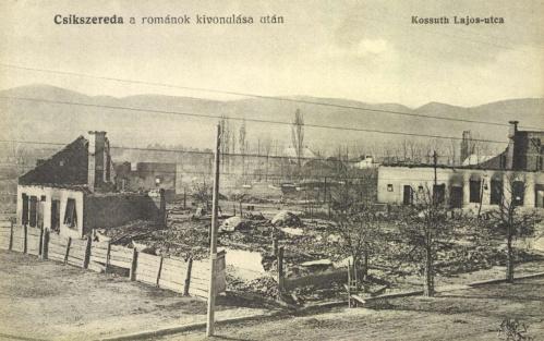 Csikszereda:Kossuth utca a románok kivonulása után,1916