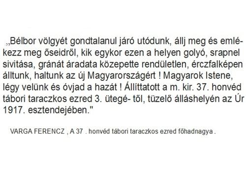 Bélbor-völgye(1917):VARGA FERENCZ a 37 . honvéd tábori taraczkos ezred főhadnagya, emléktáblával akarta megörökíteni harctéri állásukat,felkérte a Magyar Tudományos Akadémiát, hogy a következő feliratot forditsák le latinra!