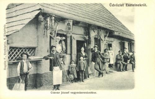 Esztelnek:Csavar József vegyeskereskedése,marhasó árulás,1905.