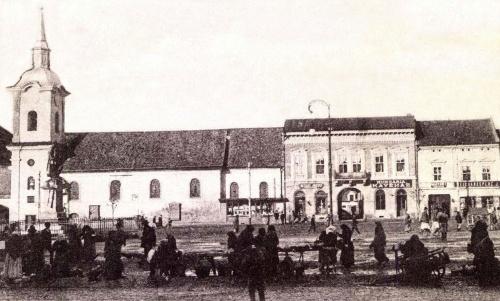 Ferences templom és Bem szobor,középen a Hungária kávéház,1902.