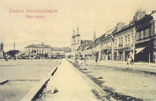 Marosvásárhely:balra a Bem szobor.1907