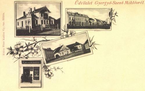 Főtér,Kis-tér,Kricska Péter könyvkereskedése,csendőr laktanya,1899.