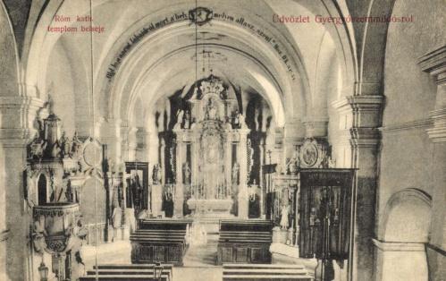 Gyergyószentmiklós:katolikus templom belseje,1908.