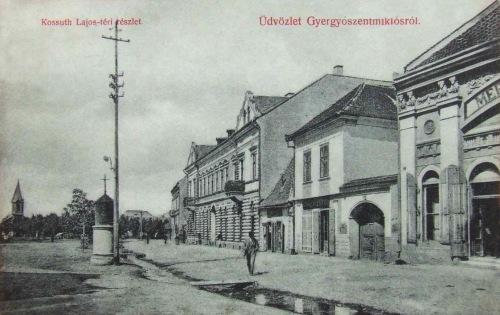 Gyergyószentmiklós:Kossuth téri részlet,balra a református templom.1909