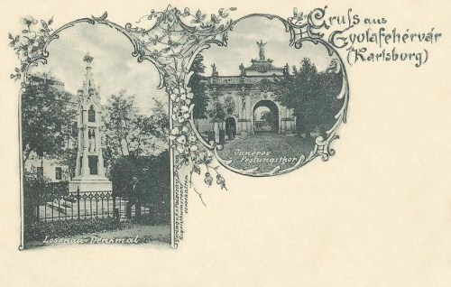 Gyulafehérvár-Karlsburg-Alba Iulia:szobor,várkapu.1897