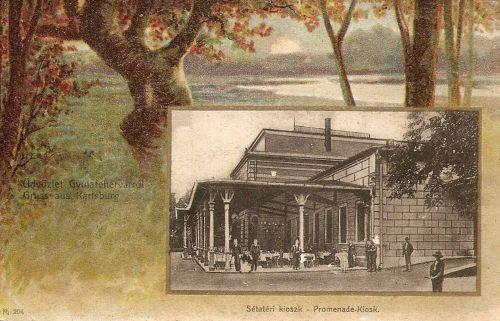 Gyulafehérvár:sétatéri kioszk,litográfia.1901