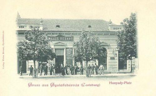 Gyulafehérvár:Hunyadi tér,Weiss Bernát sör csarnoka.1902