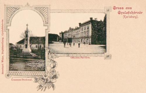 Gyulafehérvár:tiszti épület és Losenau szobor.1899